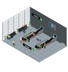 People waiting baggage isometric vector