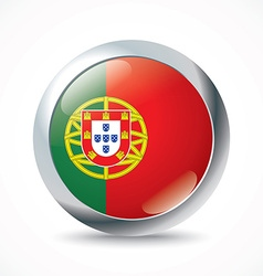 Portugal flag button vector image