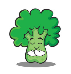 praying broccoli chracter cartoon style vector image vector image