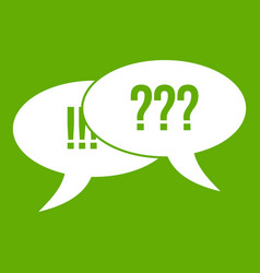 question and exclamation icon green vector image vector image