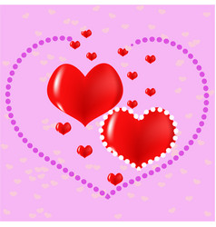Red hearts love postcard vector