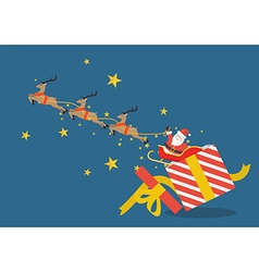 Santa claus with reindeer sleigh flying out of the vector