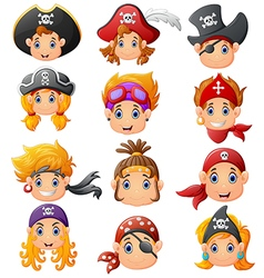 Set cartoon pirate head vector