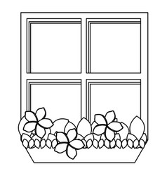 Silhouette closed window frame with plants vector