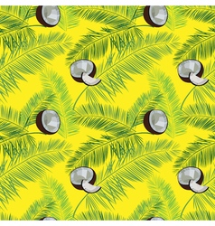 Yellow coconut seamless pattern coconut palm vector