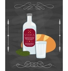 Russian traditional food bottle of vodka bread vector