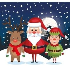 postcard christmas with santa elf reindeer vector image