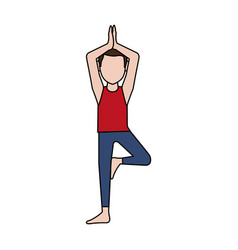 Man doing yoga yogi icon image vector