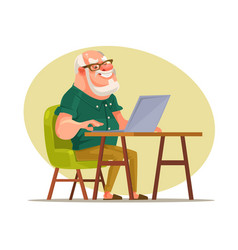 elderly man character chatting on network vector image