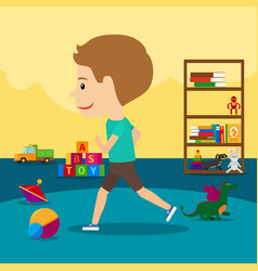 Boy runs around toys in kindergarten vector