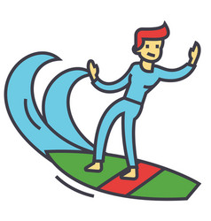 surfing man surfer with surfboard concept line vector image