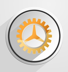 Glossy gear setting icon vector