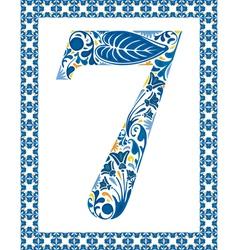 Blue number 7 vector image