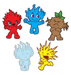 Elemental cute monsters vector