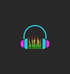 DJ headphones and equalizer sign mockup sound wave vector image