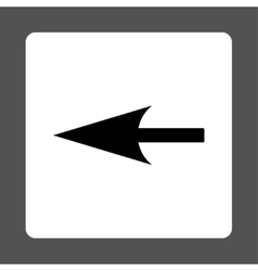 Sharp left arrow flat black and white colors vector