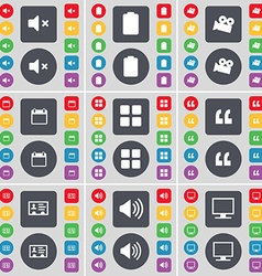 Mute battery film camera calendar apps quotation vector