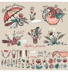 Doodle floral grouphand sketched element decor vector