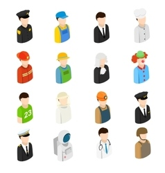 Isometric men of 16 different professions vector