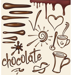 Set of chocolate drips brushs vector