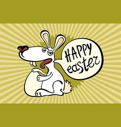 Happy easter card with easter chocolate bunny vector