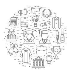 Graduation time concept shape icons vector