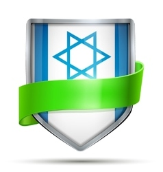 Shield with flag israel and ribbon vector