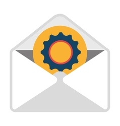 Email with industrial content icon vector
