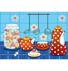 Morning stillife with cup and teapot vector