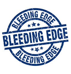 bleeding edge blue round grunge stamp vector image