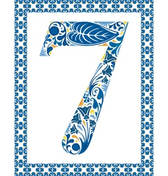 Blue number 7 vector image vector image