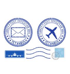 blue postal elements istanbul turkey postmark vector image