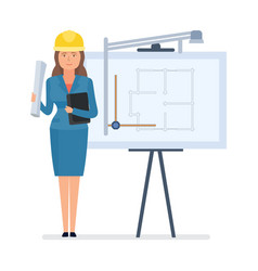 chief engineer designer with documents vector image