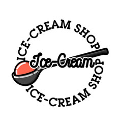 Color vintage ice-cream emblem vector