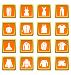 different clothes icons set orange vector image