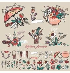 Doodle floral grouphand sketched element decor vector image vector image