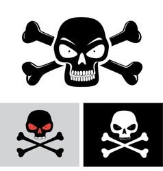 evil skull with bones vector image vector image