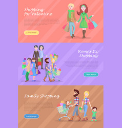 family shopping web banners set in flat design vector image vector image