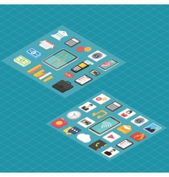 Finance and social media isometric 3d icons vector image