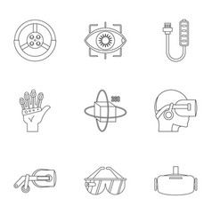 Futuristic reality icons set outline style vector