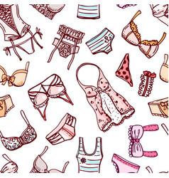 hand drawn icons underwear vector image