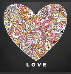 Heart ethnic doodle love valentines day black vector