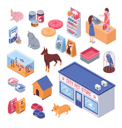 isometric pet shop set vector image vector image
