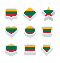 Lithuania flags icons and button set nine styles vector