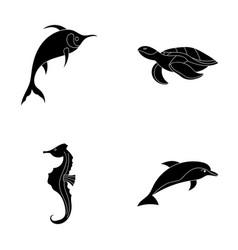 merlin turtle and other speciessea animals set vector image vector image