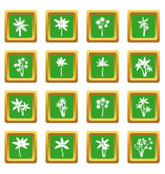 palm tree icons set green vector image vector image