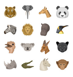 realistic animals set icons in cartoon style big vector image