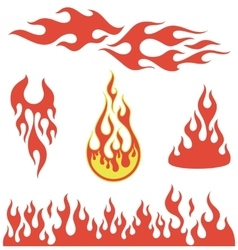 Red flame elements vector image vector image