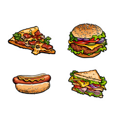 Sandwich burger hot dog pizza slice set vector