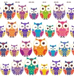 Seamless pattern - bright colorful owls on white vector